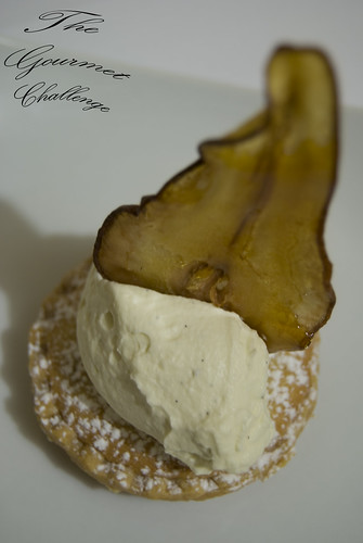 Almond frangipan tart with toffee pear