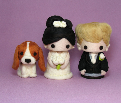 Cutie Couple in snowy white dress and black suit with Brown-black and Camel hair with beagle puppy