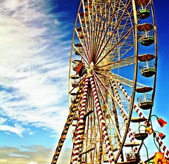 Big Wheel & Blue (A guy called John) Tags: county carnival blue ireland sea summer sky irish color colour beach wheel festival clouds fun big bright fairground fair ferris front eire explore seafront summerfest wicklow funfair 2009 amusements bray attraction irlanda irlande ierland explored ukandireland