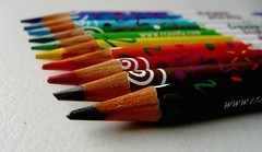 Colourful :) (Tasmin_Bahia) Tags: blue red orange brown black colour macro green yellow pencils rainbow focus dof purple random multicoloured blurred row sharp colourful crayons straight simple focused crayola brightcolours sharpened takeyourpick colouringpencils sharppencils flickraward blurredandsharpened grainypencils chooseyourfave