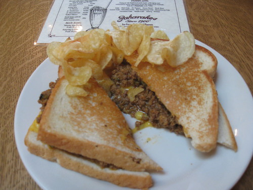 Zaharakos - Columbus, Indiana - Gom Cheese Brr-Grr: Cheeseburger/Sloppy Joe