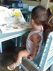 Reviewing his lessons for tomorrow's class daw.