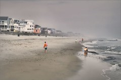 Fog on Brandt Beach (floralgal) Tags: ocean homes people seascape beach water weather fog landscape newjersey sand waves stormy beachhomes southernnewjersey longbeachislandnewjersey homesonthewater brandtbeach