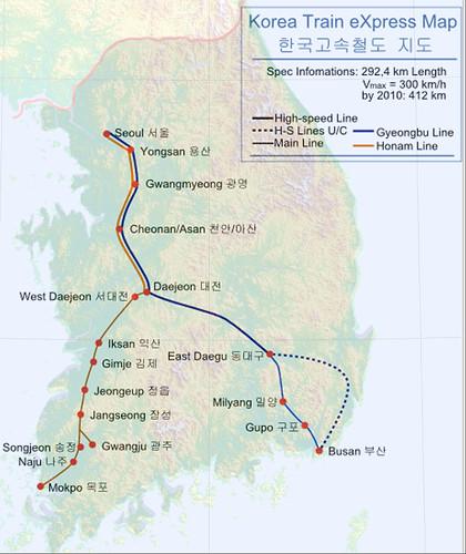 Montasje av KTX-nettet på topografisk kart over Sør-Korea