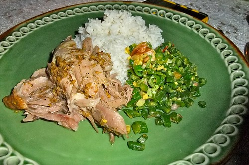 Bebek Betutu with Rice and Vegetables