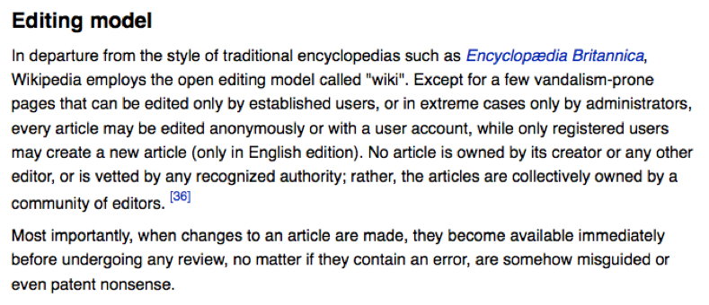 excerpt from wikipedia editing page