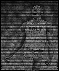 Usain Bolt, Text Portrait (Ben Heine) Tags: wallpaper money berlin art race speed print poster typography athletics time stadium beijing tracks fast run best nike professional business jamaica burnout calligraphy puma adidas athlete typo temps copyrights jamaican sprint legend lightningbolt argent stade sponsor jeuxolympiques volt piste olympicgames vitesse goldmedalist injuries meilleur reebok highres michaeljohnson worldrecord chrono flyingman sprinter snelheid moneymaker texte highquality courir recordbreaker iaaf summerolympics carllewis beijingolympics boltfromtheblue 100metres textportrait tysongay 200metres benheine usainbolt 400metres mdailledor juniorchampionships usainstleobolt worldsportsmanoftheyear cariftagames infothea