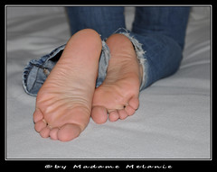 flickr801 (Melanie and Norbert) Tags: madame feet foot toes jeans hubby mistress footfetish zehen herrin footworship sklave fse fusfetisch nackterfus