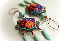 frida kahlo earrings (Chili Crab) Tags: pink flowers blue red orange green leaves one beads chili purple czech crystal handmade turquoise teal ooak earring magenta violet crab frida jewelry kind fimo clay copper romantic swarovski etsy elegant 2009 kahlo sculpted filigree polymer