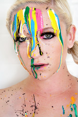 302/365: Painting my World...{EXPLORED!} (**Kel-Z**) Tags: pink portrait white black green yellow self eyes paint teal drips antm 365days drippingpaint paintonface