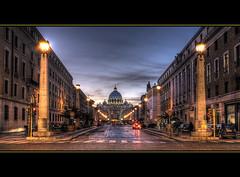 Roma al tramonto (R.o.b.e.r.t.o.) Tags: italy vatican rome roma lights bravo italia vaticano cupola udo roberto sanpietro hdr stpetersbasilica mywinners abigfave holidaysvacanzeur
