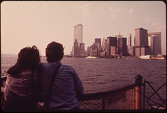 On the Staten Island Ferry, Looking Back Toward the Skyline of Lower Manhattan. To the Left of the Cluster of Buldings Are the Towers of the World Trade Center 05/1973 (The U.S. National Archives) Tags: york newyorkcity skyline manhattan worldtradecenter n manhattanskyline twintowers wtc lower trade lowermanhattan statenislandferry environmentalprotectionagency newyorkharbor world centernew documerica usnationalarchives y nara:arcid=549901