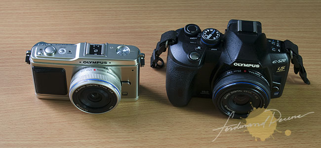 Olympus E-P1 with 17mm Pancake vs Olympus E-520 with 25mm Pancake