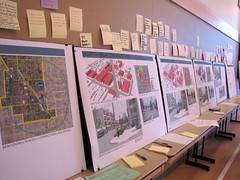 Illustrations of potential North Beacon rezoning are surrounded by Beaconians comments at Sundays DPD open house. Photo by Wendi.