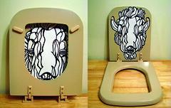 Toilet Seat Art (sammo371) Tags: art illustration weird buffalo paint outsiderart unique seat fineart toilet spraypaint bison bg bargain toiletseat sammo permapaque