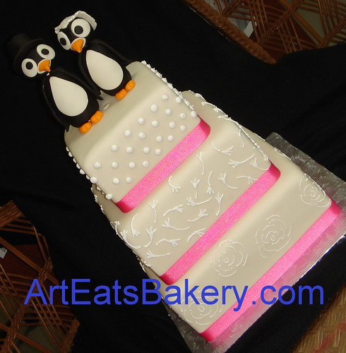 Square fondant wedding cake Penguin topper