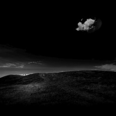 Watchers (Olli Keklinen) Tags: sky people blackandwhite bw cloud black photoshop dark square landscape nikon scenery couple hill 100v10f 2009 watchers d300 viewers ok6 ollik 20091012