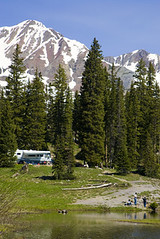 RV camping near a mountain lake in Southwest Colorado (Visit Colorado) Tags: camping lake mountains southwest rockies landscapes spring fishing colorado co rockymountains rv pinetrees coloradostate rving coloradovacation recreationalvehicle coloradopictures