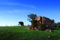 la construccin antao II (Tatan Soy Yo) Tags: blue sky naturaleza verde azul merida cielo construccion campo augusta antao emerita cabaa choza proserpina piedra dehesa extremadura campia encina charca mamposteria ripios