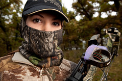 Hunting Stranger (jmurphpix) Tags: wild woman girl face sport lady woodland outdoors photo eyes woods nikon veil mask hunting deer bow hunter arrow archery compoundbow archer camoflauge joemurphy 100strangers josephlmurphy jmurphpix
