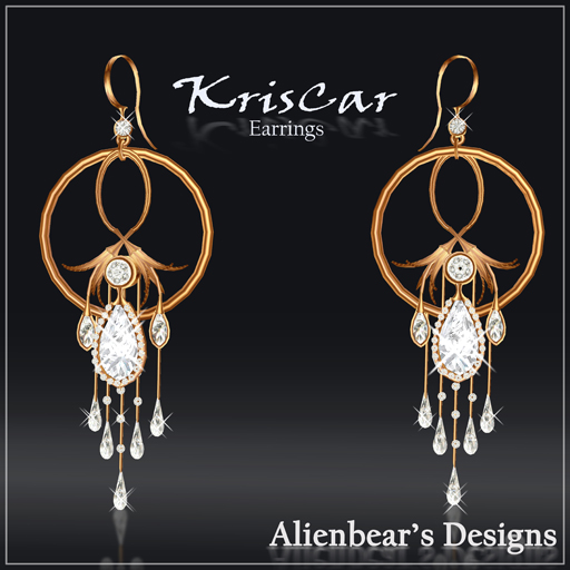 KrisCar gold earrings white