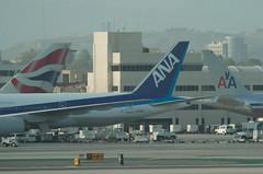 A tale of 3 tails (SBGrad) Tags: ana losangeles nikon boeing lax nikkor americanairlines britishairways 777 d2h 747400 alr 2011 klax tc17eii 300mmf28dii ja715a