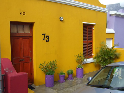 Gold House With Violet Planters in Bo Kaap