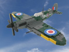 Spitfire Mk IX in flight (Final) (Lego Monster) Tags: plane airplane fighter lego aircraft wwii aeroplane spitfire worldwar2 battleofbritain supermarine mark9 mkix