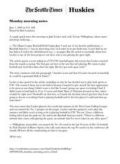 06.01.09 - Seattle Times Blog (bustersports) Tags: rome college fan acc media state fark volunteers sportsillustrated gators seminoles duke huskies arena gameday national longhorns tigers lions tailgate conference buster sucks rosebowl coed sec ncaa buckeyes universityofwashington bulldogs chapelhill unc rivals cbs trojans espn wolfpack sugarbowl bcs tarheels gamecocks wildcats wolverines orangebowl insider collegebasketball deacons jayhawks recruit andrewjones fiestabowl cavaliers tipoff firestarter spartans sportscenter finalfour big10 seattletimes big12 bigeast tommytuberville pac10 wfan studentsection mikegottfried tommybowden davenathan danballard dennisfranchione daveodom terrydonahue bustersports jimdonnan glenmason