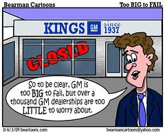 6 3 09 Bearman Cartoon GM Dealers copy (Bearman2007) Tags: gm humor cartoon bearman dealership politicalcartoon dealer generalmotors editorialcartoon bailout bearmancartoons toobigtofail