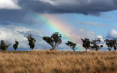Rainbow (photographerglen) Tags: light sun mountain storm grass canon dark landscape countryside bush afternoon cloudy dusk farm country australia nsw 100views land 400views 300views 200views outback 500views 50views huntervalley dubbo paddock centralwest westernplains setset 100comments 50comments 150comments