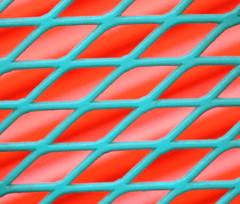 Verdigris Veil (Non Paratus) Tags: red orange abstract green lines metal fence nikon geometry teal steel pasadena geometricabstract coolpixp6000