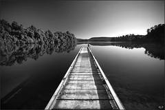 Mapourika (katepedley) Tags: new morning winter newzealand blackandwhite bw lake canon nationalpark frost jetty tripod steam kettle zealand nz southisland 5d westland franzjosef 1740mm canonef1740mmf4lusm polariser glaciated westcoastnz gndfilter mapourika taipoutini