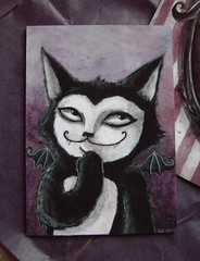 Blacklilypie Batcat ACEO