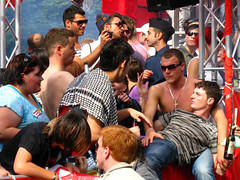 The Leftists attack ;-) (ЯAFIK ♋ BERLIN) Tags: shirtless summer man hot berlin guy weather arab german prideparade lad leftist multicultural grab guapo turkish bloke ragazzo streetshot dielinke erkek shab festivecheer cristopherstreetday gayprideberlin csd2009 dielinkequeer
