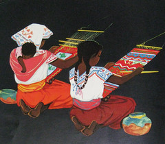 Mexican Weavers (Teyacapan) Tags: art women paintings drawings mexican weavers mujeres indigenous looms tejedoras telar backstrap