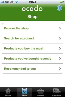 Ocado iPhone app navigation options