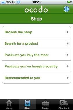 Ocado iPhone app navigation options