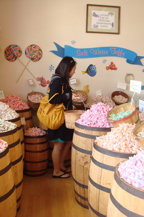 Filling my basket at Candy Baron