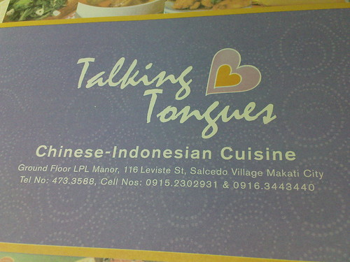 Lunch with JM at Talking Tongues