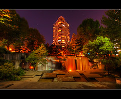 Keller Fountain Park at Night - HDR (David Gn Photography) Tags: oregon portland waterfall pdx nightscene hdr condominium portlandplaza portlanddowntown kellerauditorium photomatix kellerfountainpark sigma1020mmf35exdchsm canoneosrebelt1i