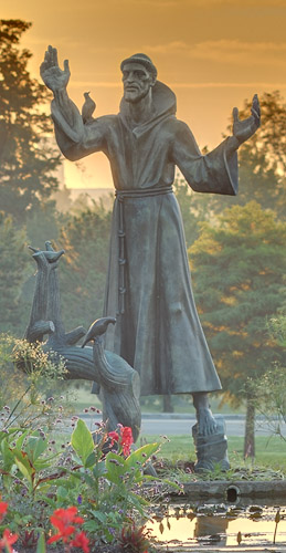 Statue of Saint Francis of Assisi, in Forest Park, Saint Louis, Missouri, USA