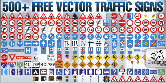 500+ Free Vector Traffic Signs