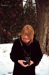 Rolleimat Vs. Lubitel (The Letra Set) Tags: winter snow rollei lomo coat redhead german lubitel pointandshoot universal af russian pea amateur 166u 166 belomo rolleimat