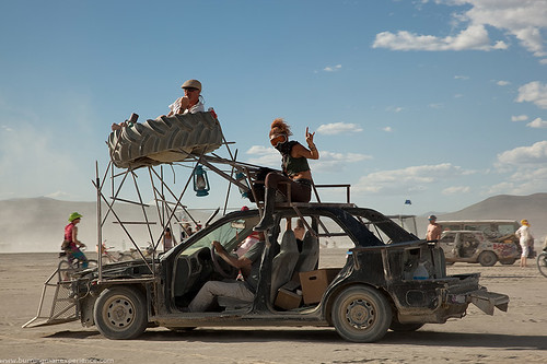 Fun and Unsafe Mad Max Mutant Vehicle at Burning Man.