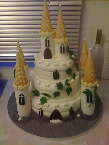 Three tier castle wedding cake