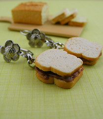 Chocolate Spread Sandwiches (Shay Aaron) Tags: food breakfast bread miniature milk handmade aaron fake mini jewelry polymerclay fimo tiny faux shay earrings nutella  dangle jewel petit           shayaaron wearablefood