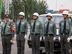 Security Police at Bird's Nest 东城保安纠察在鸟巢 (Beijing Patrol) Tags: leather birds belt shoes uniform nest boots id helmet guard beijing security badge 北京 patch turandot statdium 保安 epaulet 保安纠察 东城保安