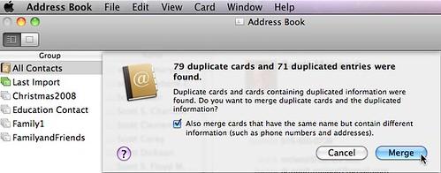 duplicate entries in mac address book