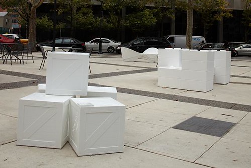 Three of the new Corian seats, deployed across the city by C.H. Briggs in honor of Design Philadelphia 09.